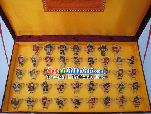 Chinese Classical Hand Painted and Made 43 Kites Set - Fu Wa of Beijing Olympics