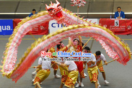 Luminous Glow in the Dark Happy New Year Competition and Parade Dragon Dance Costumes Complete Set