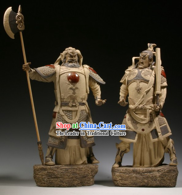 Chinese Classic Shiwan Ceramics Statue Arts Collection - Door God _Pair_