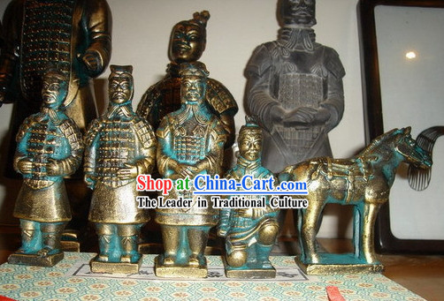 4 Inches Chinese Terra Cotta Warriors 5 Pieces Brass Statues Set