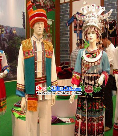 China Tu Minority Traditional Festival Celebration Clothing and Hat Complete Set for Men and Women
