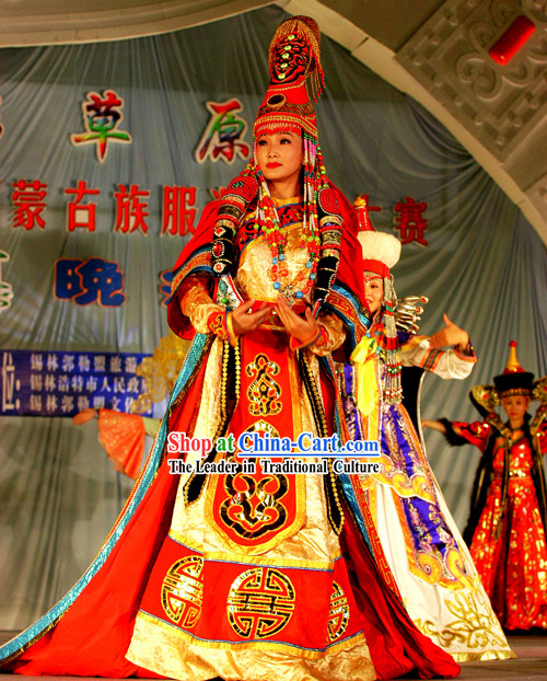 Ancient Mongolian Empress Clothing and Hat Complete Set