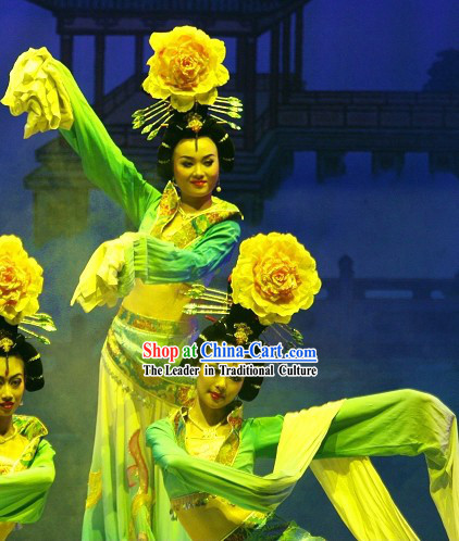 Ancient Chinese Palace Dance Costumes and Hair Accessories Complete Set