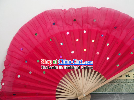 Chinese Bamboo Handle Pure Silk Red Dance Fans with Sequins
