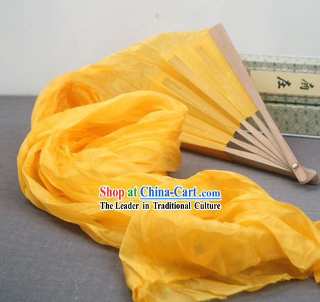 59 Inch Long Pure Silk Yellow Dance Fan