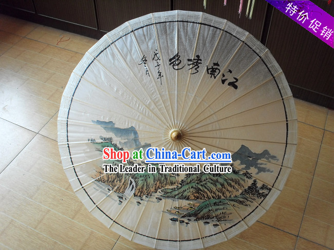 Traditional Chinese Hand Painting Beach, Rain and Sun Landscape Umbrella