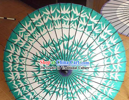Traditional Chinese Hand Painting Beach, Rain and Sun Umbrella - Bamboo