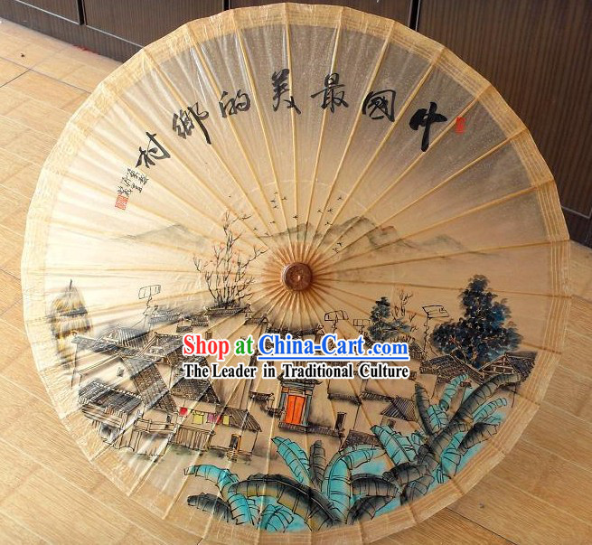 Traditional Chinese Hand Painting Beach, Rain and Sun Umbrella - China Village
