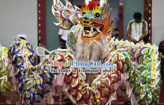 Five Colors Happy Festival Celebration Chinese Shinning Dragon Dance Costumes Complete Set