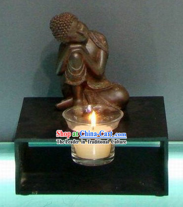 Southeast Asia Thai Arts Sleeping Buddha Candlestick