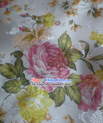 White Phoenix Flower Brocade Fabric
