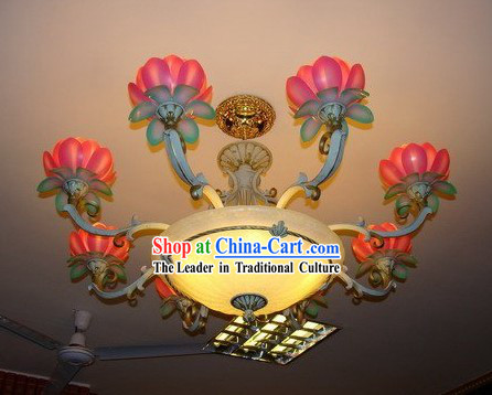 32 Inch Chinese Lotus Temple Lanterns Set