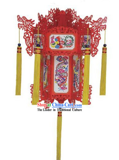 24 Inches Large Chinese Phoenix Papercut Palace Lantern Ornament