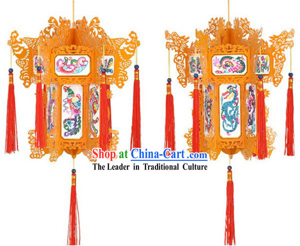 Hand Made Chinese Traditional Paper Palace Lantern - Dragon and Phoenix (red)