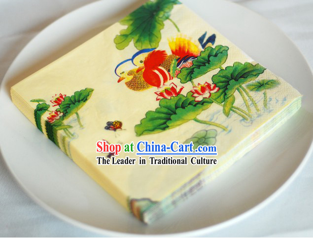 Traditional Chinese Style Three-ply Mandarin Ducks Wedding Napkin