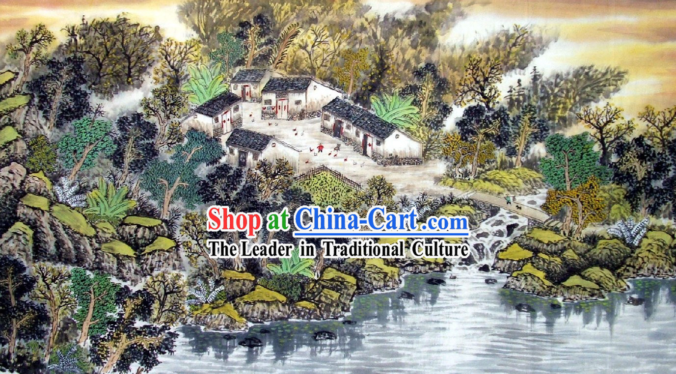Chinese Landscape Painting - Peace Village