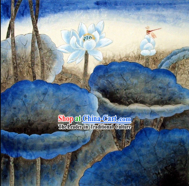 Traditional Chinese Lotus Painting by Qin Shaoping