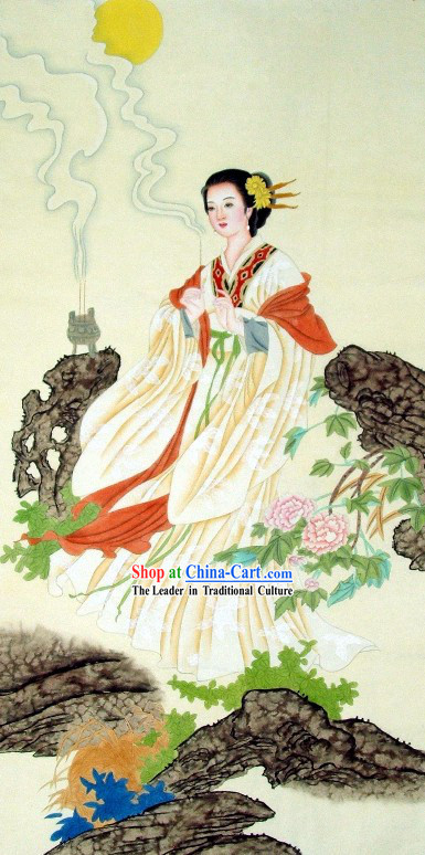 Traditional Chinese Ancient Lady Painting by Liu Lanting