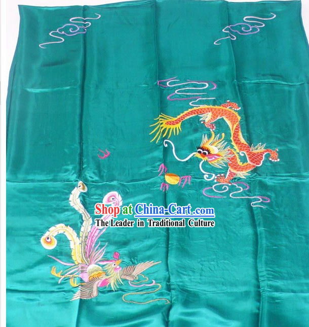 Chinese Embroidery Silk Bedcover - Dragon and Phoenix