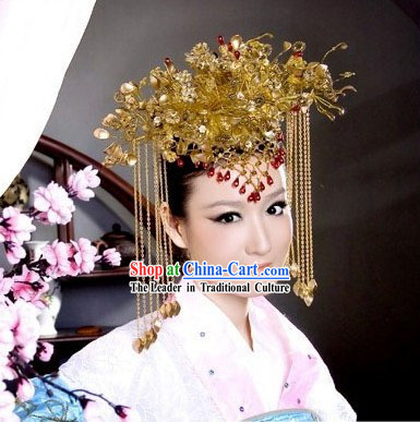 Supreme Chinese Traditional Handmade Phoenix Tail Crown for Women