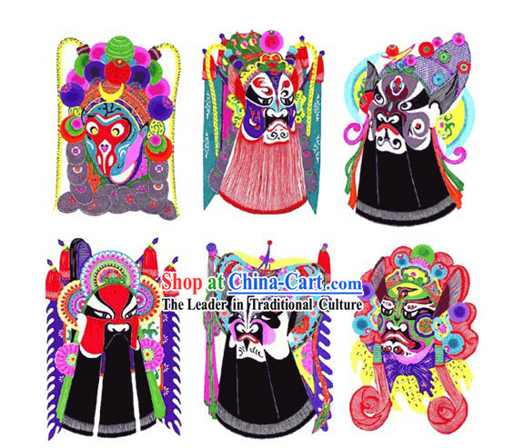 Large Chinese Traditional Handmade Opera Mask Papercut _6 pieces set_
