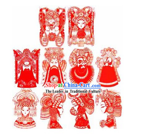 Large Chinese Traditional Handmade Opera Mask Papercut _10 pieces set_