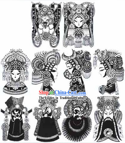 Large Chinese Traditional Handmade Opera Mask Papercut _10 pieces black and white set_