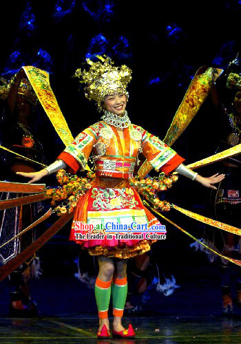 Chinese Traditional Minority Dance Costumes and Silver Crown Complete Set