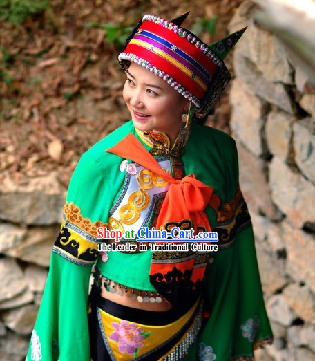 Chinese Traditional Minority A Shi Ma Clothing Complete Set