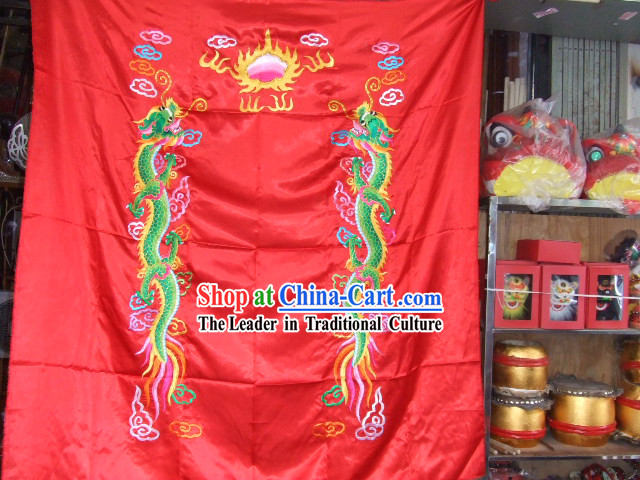 Chinese Classical Dragon Dance and Lion Dance Double Dragons Banner