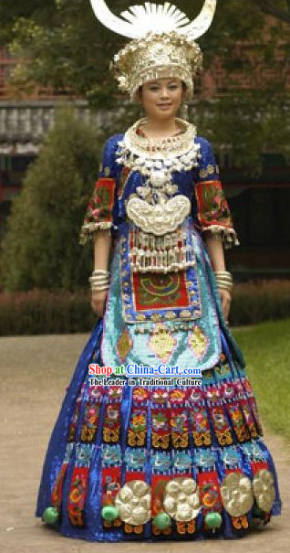 China Miao Ethnic Clothing and Silver Hat Complete Set