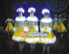 Professional Stage Performance Luminous Costumes Complete Set