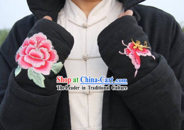 Peony and Butterfly Embroidery Kung Fu Glove Pair