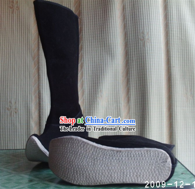 Chinese Hand Made Plain Black Opera (Jingju) Boots for Man