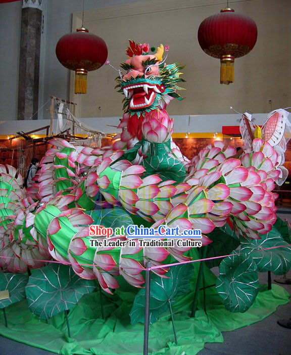 Supreme Handmade Classic Traditional Lotus Dragon Dance Costumes Complete Set