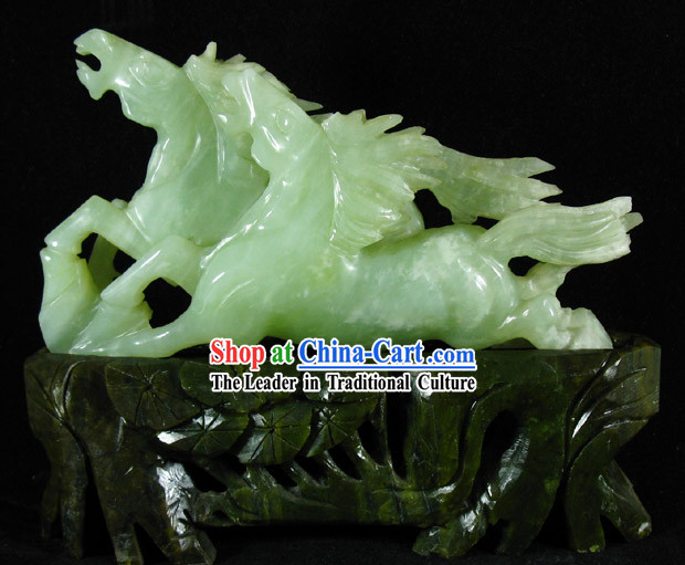 Chinese Classical Natural Jade Horse Sculpture