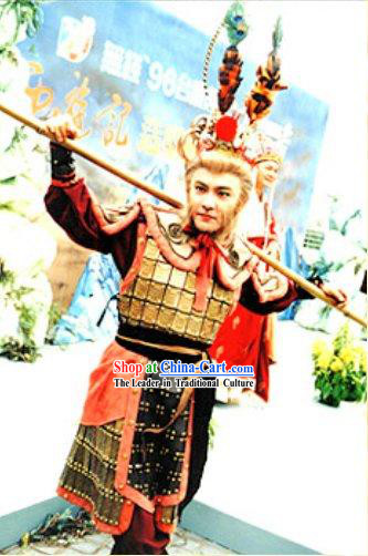 Chinese Traditional Sun Wukong _Monkey King of Journey to the West_ Costumes and Hat Complete Set