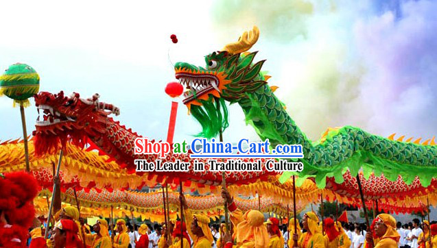 Chinese Traditional Beijing Green Dragon Dance Costume Complete Set