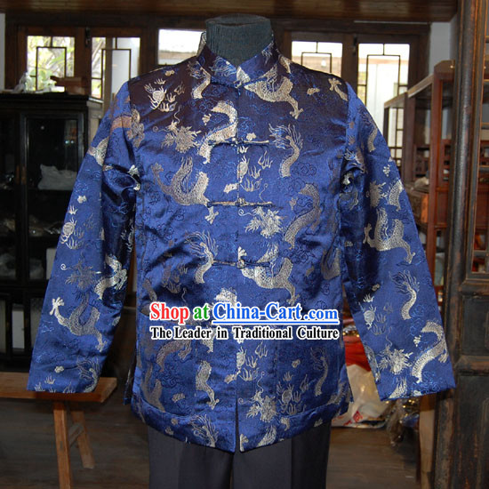 Chinese Classical Mandarin Handmade Silk Blouse for Men with Dragons Background