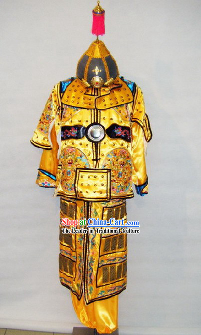 Ancient Chinese Emperor Armor Costume and Helmet Complete Set