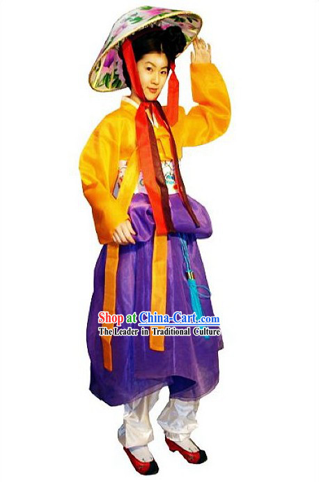 Ancient Korean Palace Costume and Hat for Women