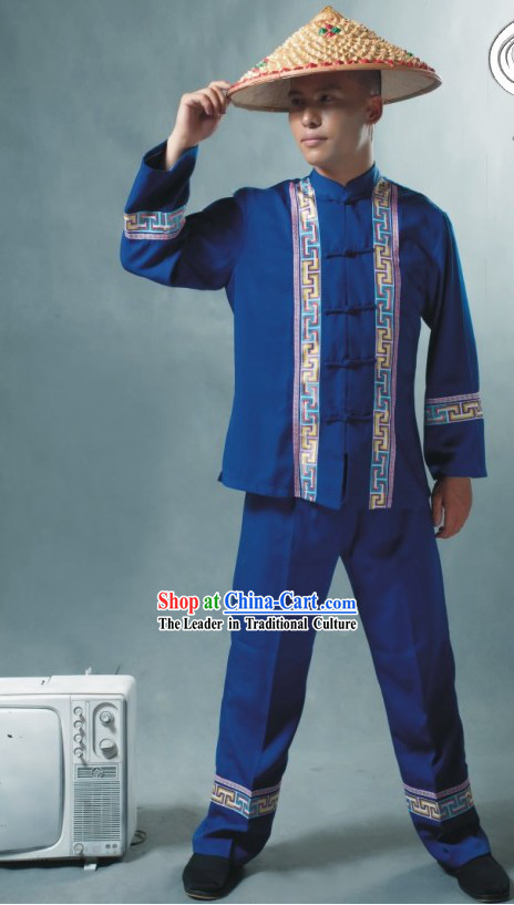 Chinese Soil Family Costume and Hat Complete Set _ Tu Minority