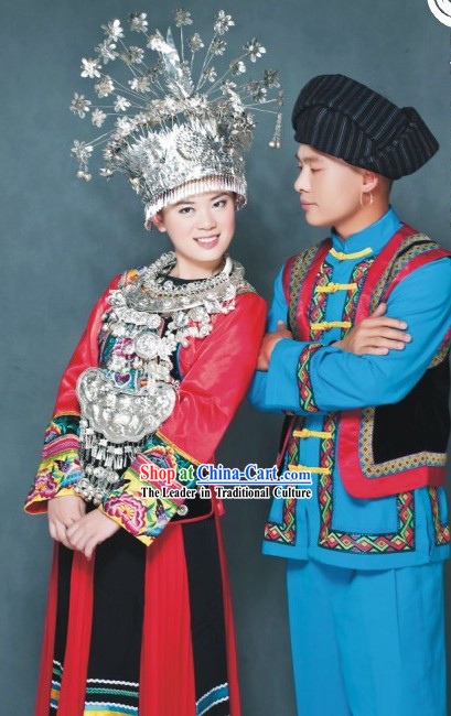 Miao Nationality Clothing Two Complete Sets for Men and Women