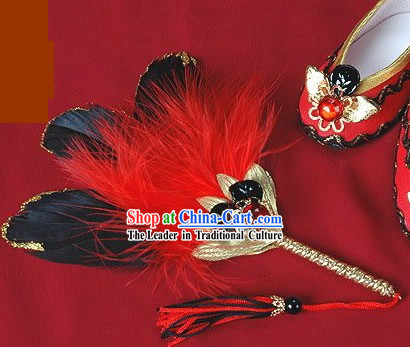 Chinese Palace Emperor Feather Fan