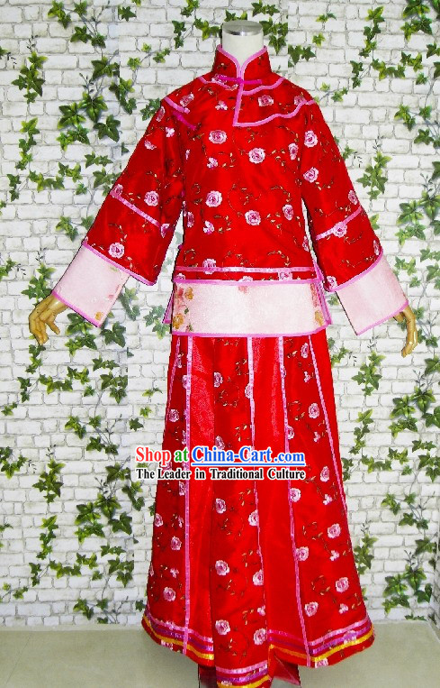 Chinese Lucky Red Long Wedding Dress Set for Women