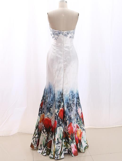 Chinese Large Peony Evening Dress and Weding Dress