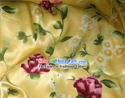 Chinese Pure Silk Butterfly Flower Fabric