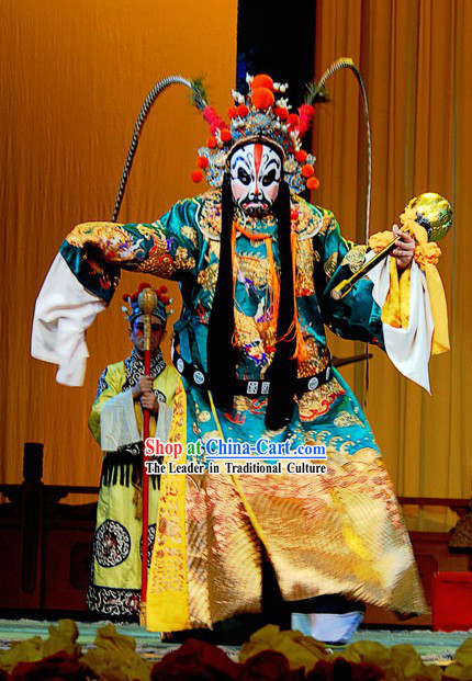 Chinese Peking Opera Costume and Helmet Complete Set