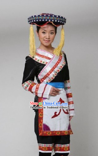 Chinese Minority Dance Costume and Hat Complete Set