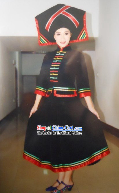 Chinese Traditional Zhuang Minority Clothing and Hat Complete Set